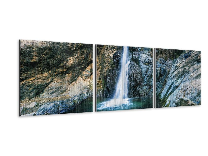 Panorama Metallic-Bild 3-teilig Bewegtes Wasser