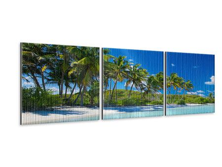 Panorama Metallic-Bild 3-teilig Standpalmen