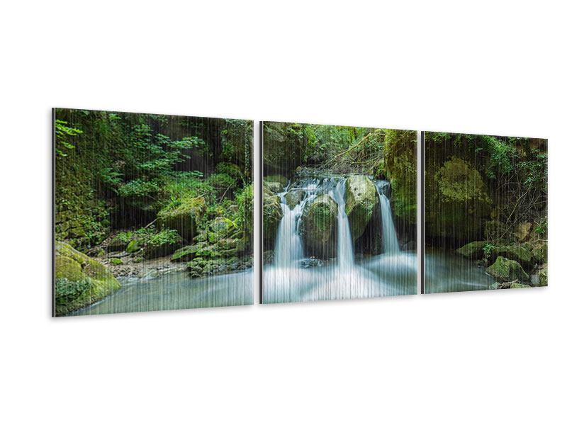 Panorama Metallic-Bild 3-teilig Wasserspiegelungen