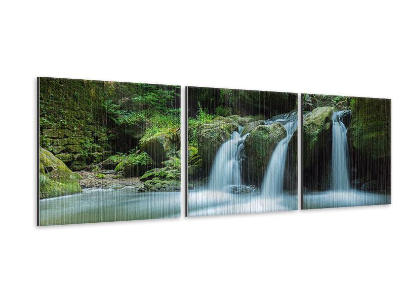 Panorama Metallic-Bild 3-teilig Fallendes Wasser