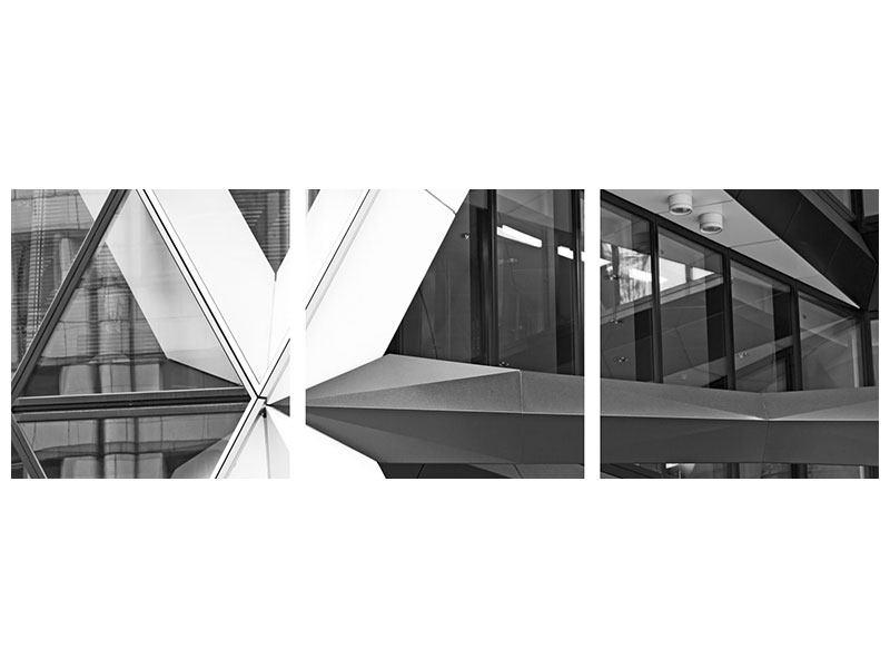 Panorama Metallic-Bild 3-teilig Teil eines Wolkenkratzers