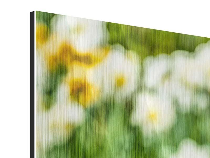 Panorama Metallic-Bild 3-teilig Ein Garten mit Tulpen