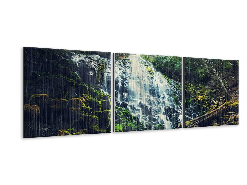 Panorama Metallic-Bild 3-teilig Feng Shui & Wasserfall
