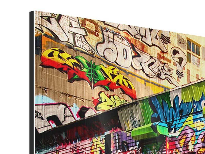 Panorama Metallic-Bild 3-teilig NY Graffiti