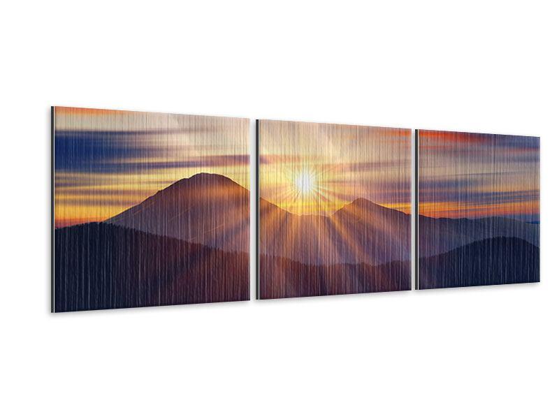 Panorama Metallic-Bild 3-teilig Märchenhafte Landschaft