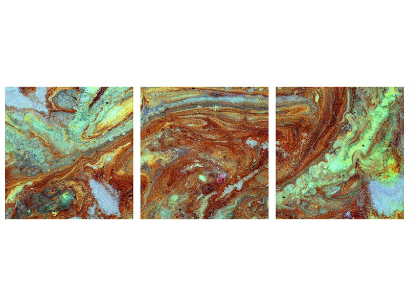 Panorama Metallic-Bild 3-teilig Marmor in Grün