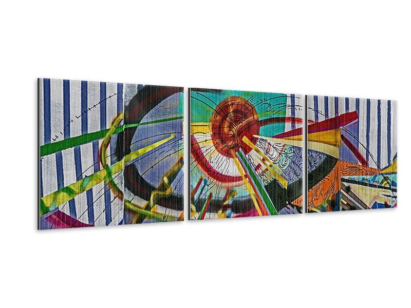 Panorama Metallic-Bild 3-teilig Künstlerisches Graffiti