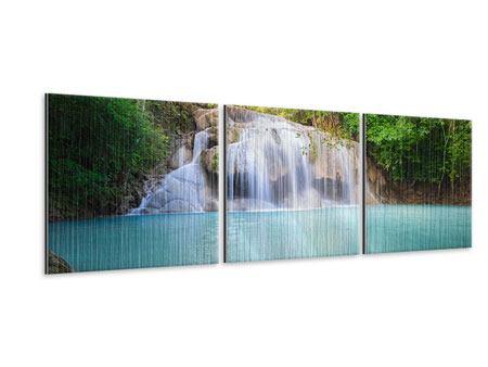 Panorama Metallic-Bild 3-teilig Terrasse am Wasserfall