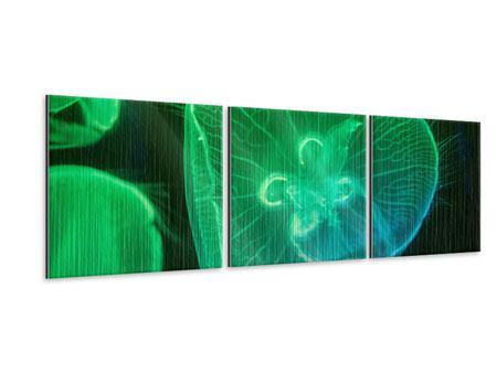 Panorama Metallic-Bild 3-teilig Quallen im Licht