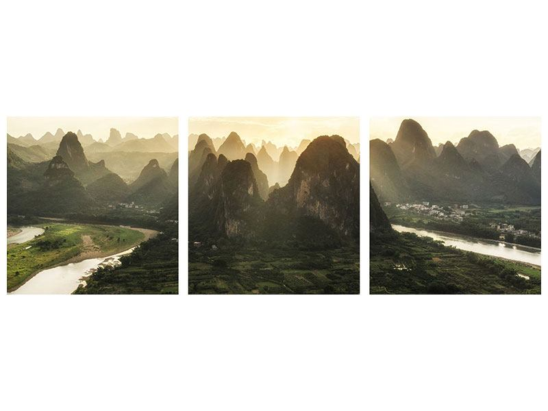 Panorama Metallic-Bild 3-teilig Die Berge von Xingping
