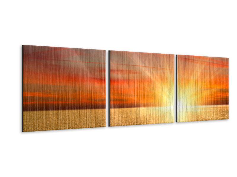 Panorama Metallic-Bild 3-teilig Der Sonnenuntergang
