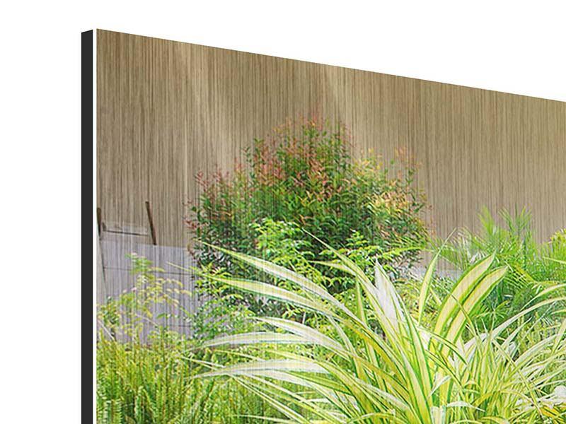 Panorama Metallic-Bild 3-teilig Paradiesgarten