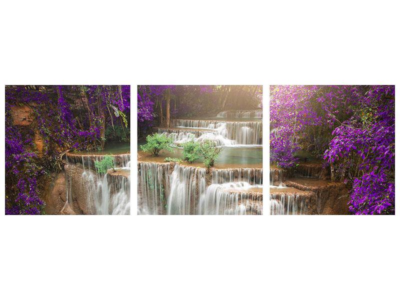 Panorama Metallic-Bild 3-teilig Garten Eden