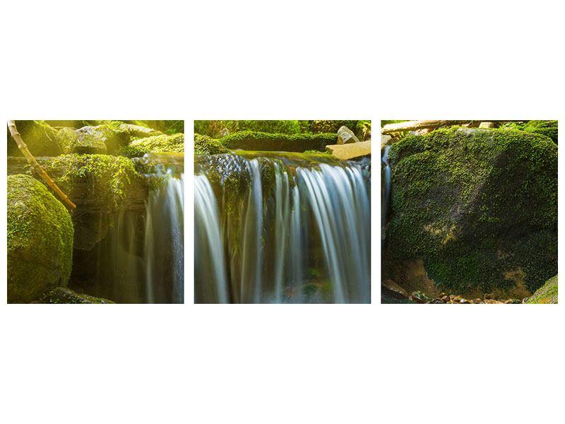 Panorama Metallic-Bild 3-teilig Schönheit des fallenden Wassers