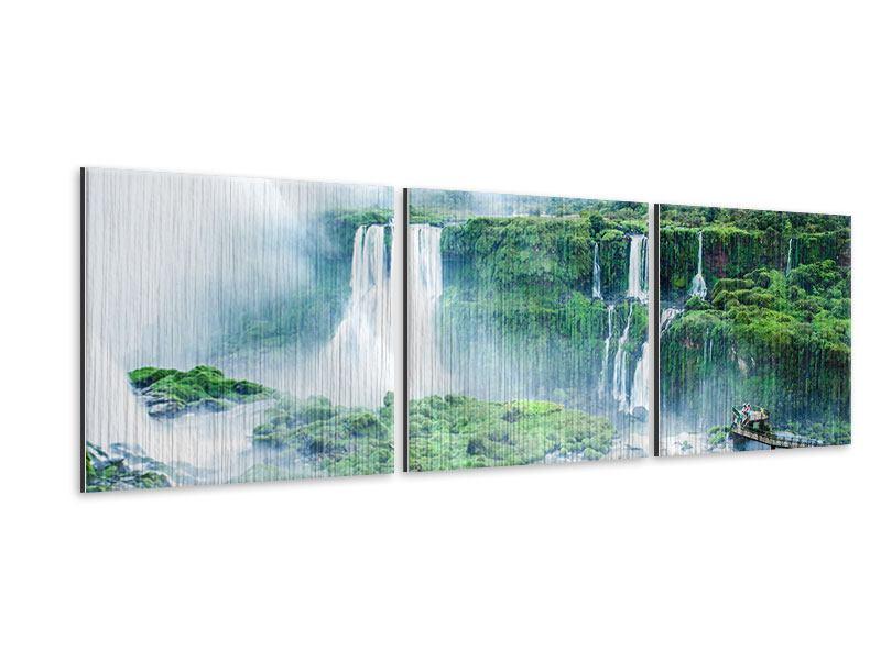 Panorama Metallic-Bild 3-teilig Wasserfälle