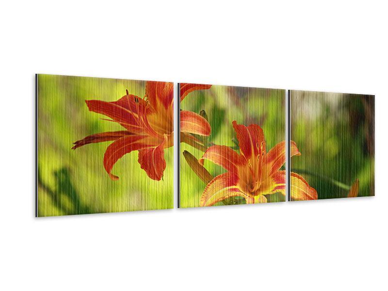 Panorama Metallic-Bild 3-teilig Lilien in der Natur