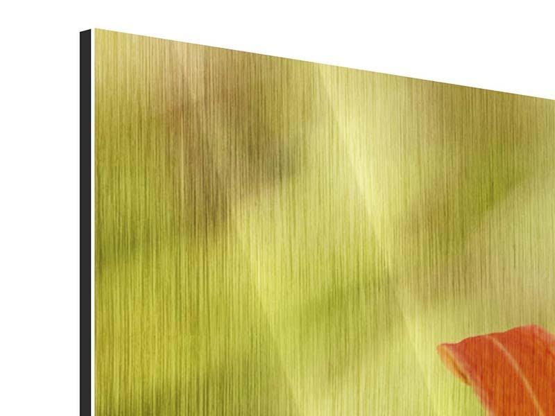 Panorama Metallic-Bild 3-teilig Natural Lilien