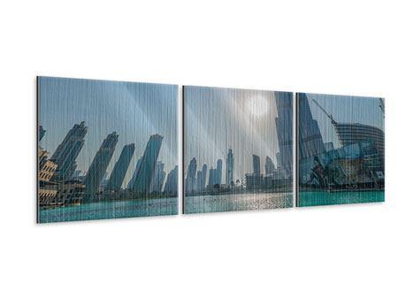 Panorama Metallic-Bild 3-teilig Wolkenkratzer-Architektur Dubai