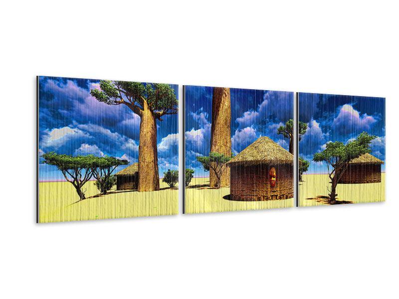 Panorama Metallic-Bild 3-teilig Ein Dorf in Afrika