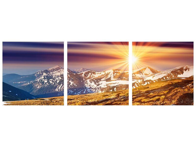 Panorama Metallic-Bild 3-teilig Majestätischer Sonnuntergang am Berggipfel