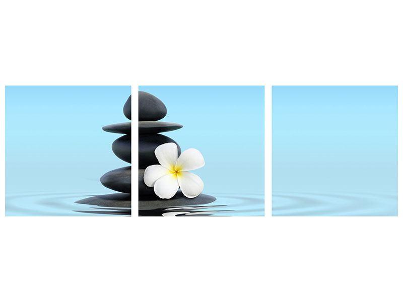 Panorama Metallic-Bild 3-teilig Zen Steine