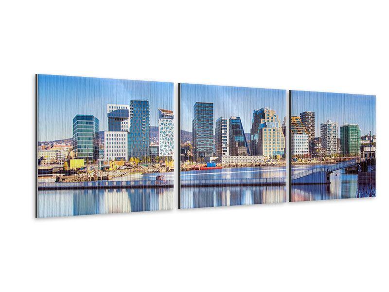 Panorama Metallic-Bild 3-teilig Skyline Oslo