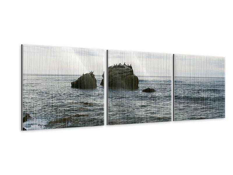 Panorama Metallic-Bild 3-teilig Leise Wellen