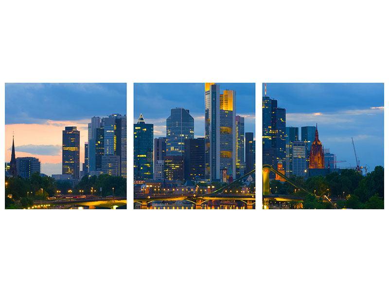Panorama Metallic-Bild 3-teilig Skyline Frankfurt am Main
