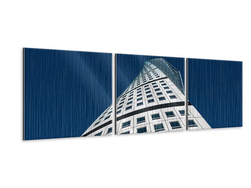 Panorama Metallic-Bild 3-teilig Meisterstück Wolkenkratzer