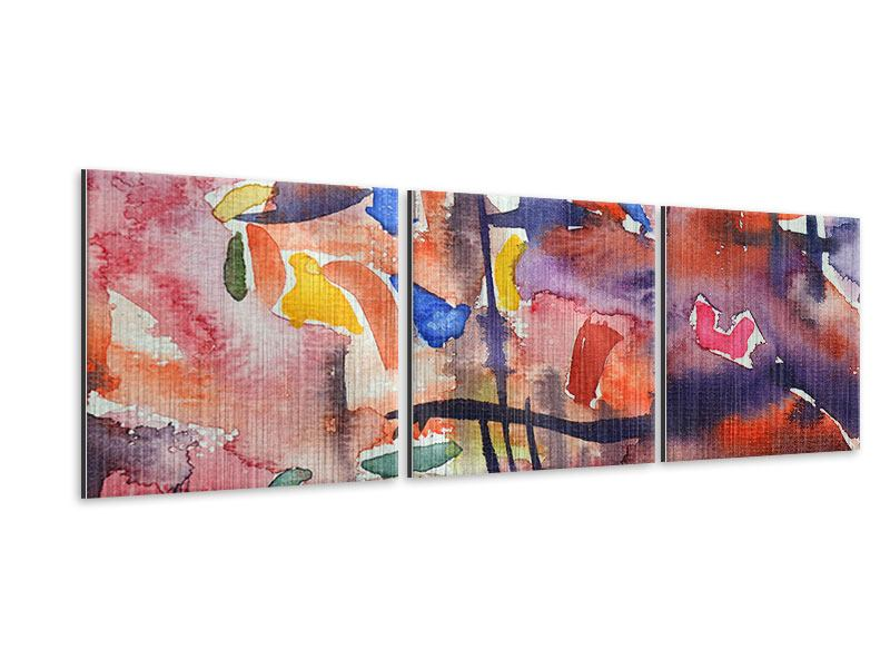 Panorama Metallic-Bild 3-teilig Aquarell