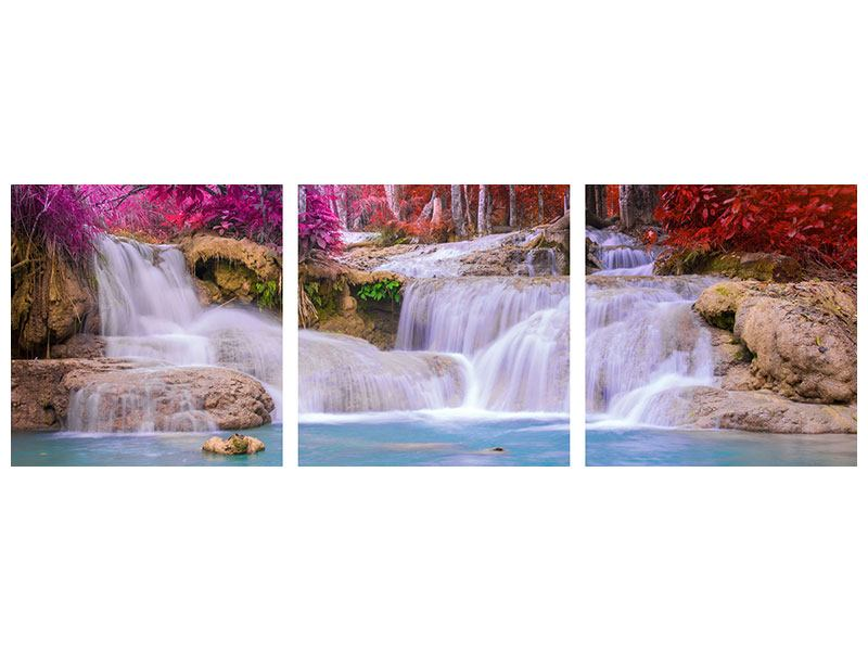 Panorama Metallic-Bild 3-teilig Paradiesischer Wasserfall