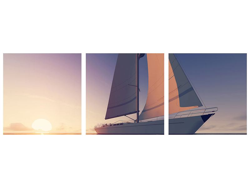 Panorama Metallic-Bild 3-teilig Das Segelschiff