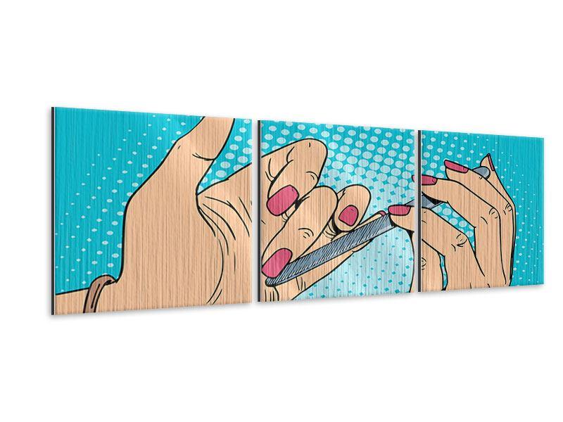Panorama Metallic-Bild 3-teilig Pop Art Nails
