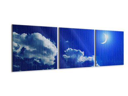 Panorama Metallic-Bild 3-teilig Der Mond