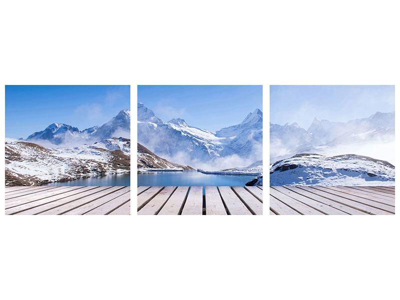 Panorama Metallic-Bild 3-teilig Sonnenterrasse am Schweizer Bergsee