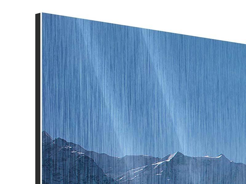 Panorama Metallic-Bild 3-teilig Sonnenterrasse in den Schweizer Alpen