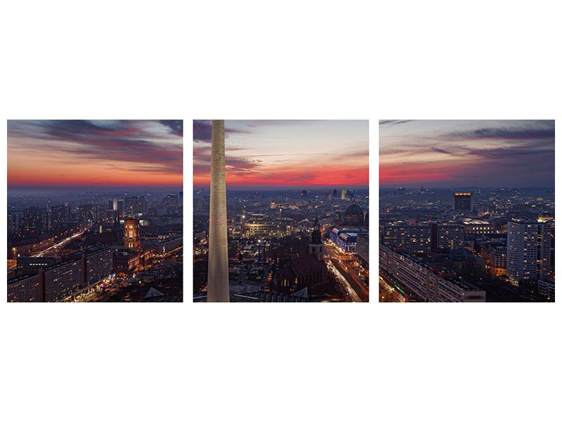 Panorama Metallic-Bild 3-teilig Berlin