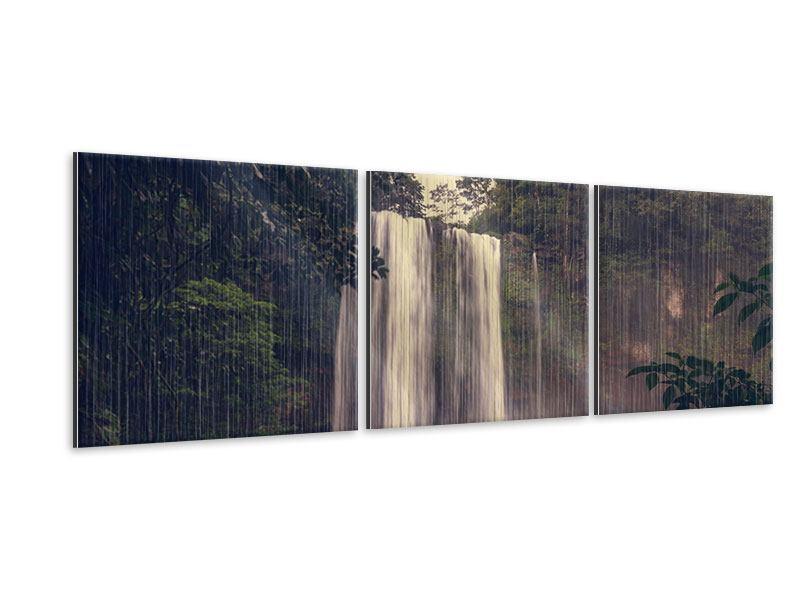 Panorama Metallic-Bild 3-teilig Wasserfall in Mexiko