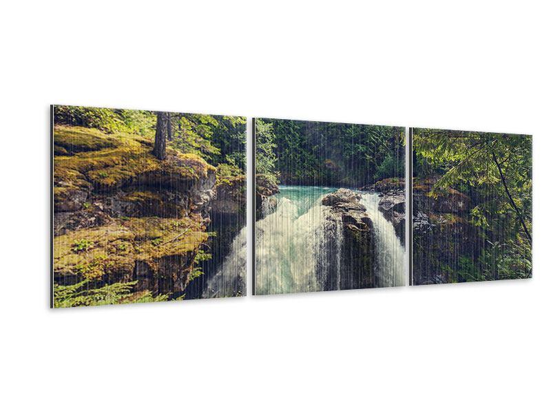 Panorama Metallic-Bild 3-teilig Flussströmung