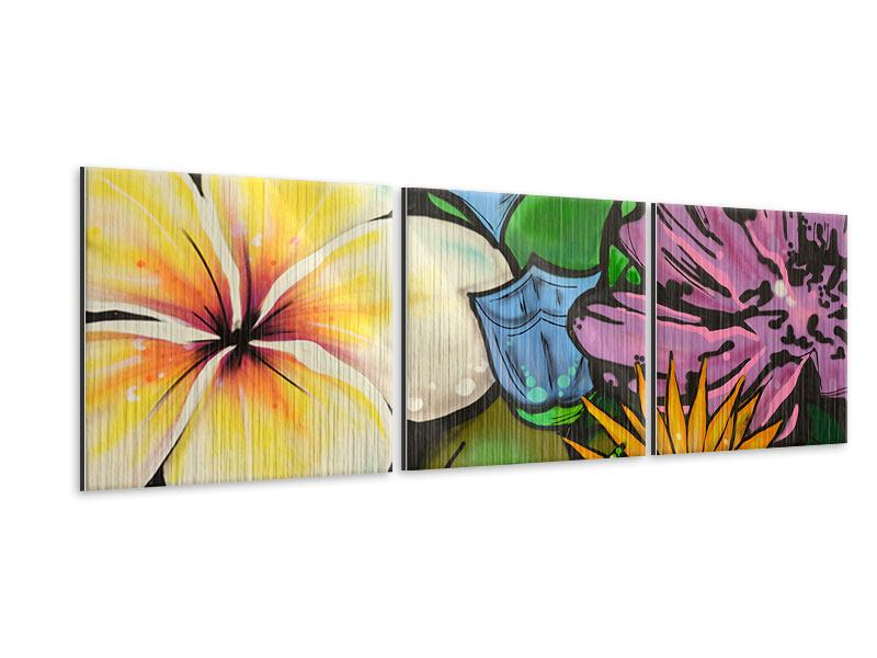 Panorama Metallic-Bild 3-teilig Graffiti Flowers