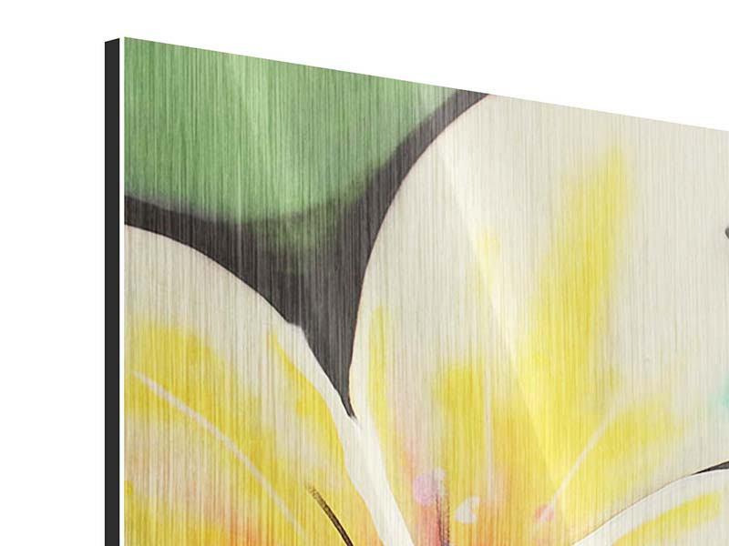 Panorama Metallic-Bild 3-teilig Graffiti Flowers