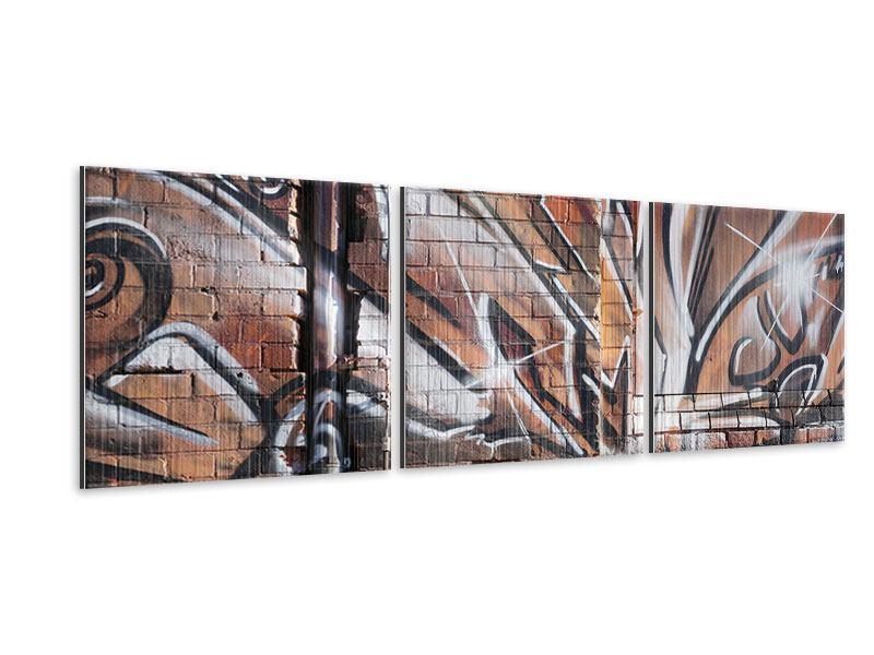 Panorama Metallic-Bild 3-teilig Graffiti Mauer