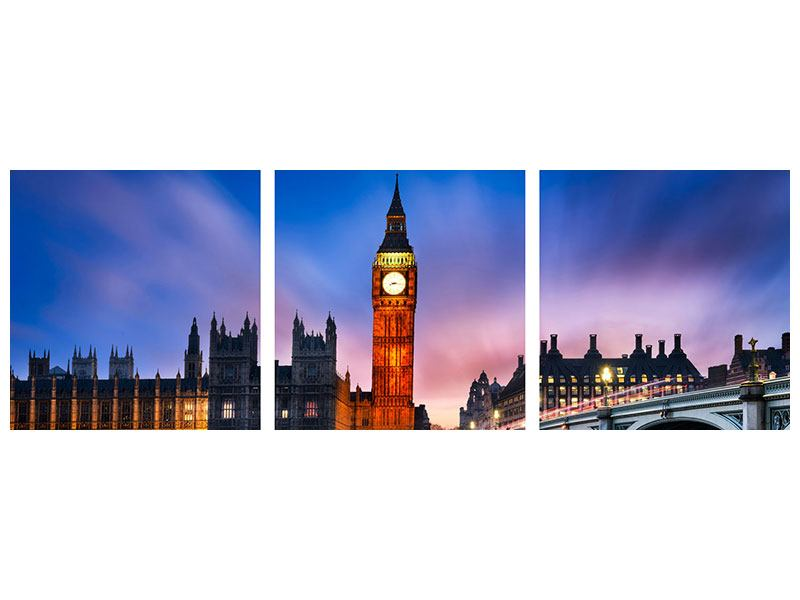 Panorama Metallic-Bild 3-teilig Nachts am Big Ben