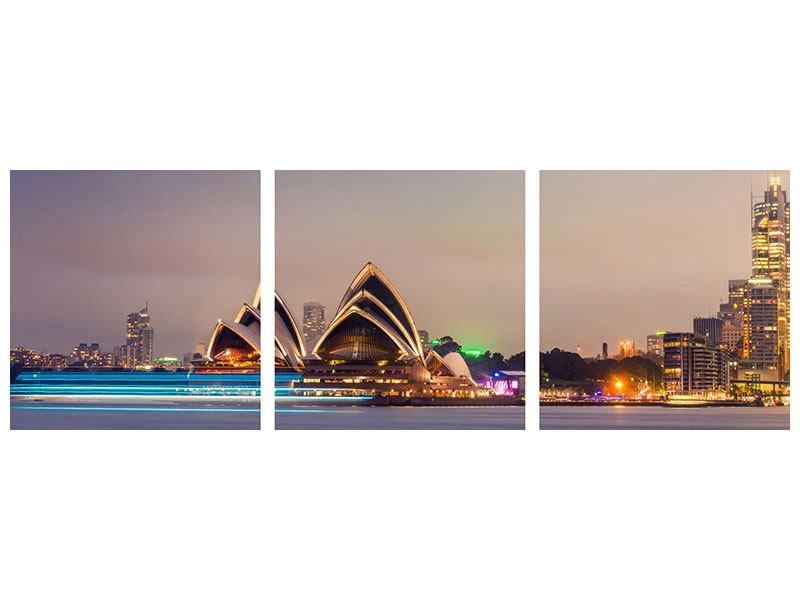 Panorama Metallic-Bild 3-teilig Opera House