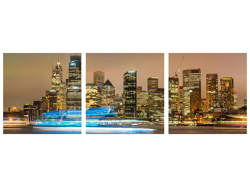 Panorama Metallic-Bild 3-teilig Skyline Sydney im Lichtermeer