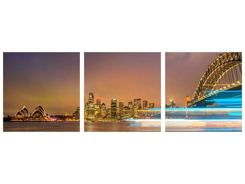 Panorama Metallic-Bild 3-teilig Skyline Opera House in Sydney im Abendlicht