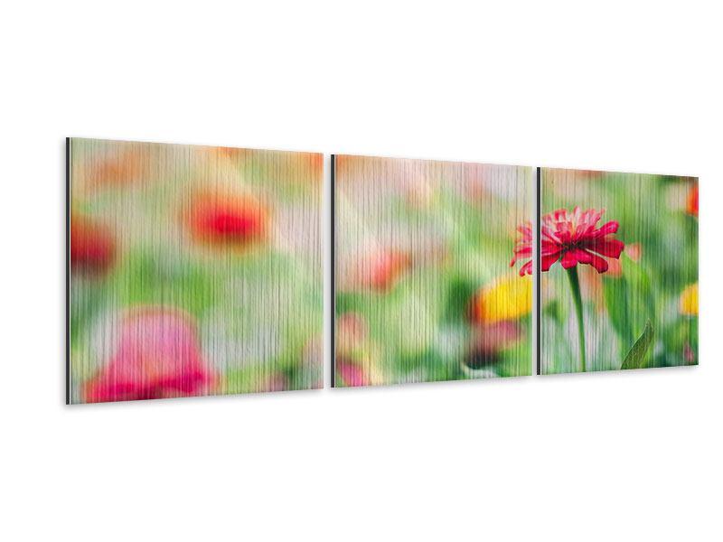 Panorama Metallic-Bild 3-teilig Im Blumengarten