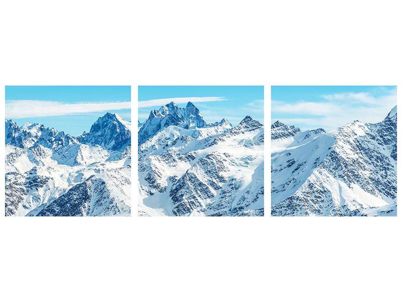 Panorama Metallic-Bild 3-teilig Alpenpanorama