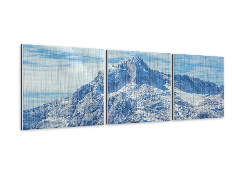 Panorama Metallic-Bild 3-teilig Friedliche Bergstimmung