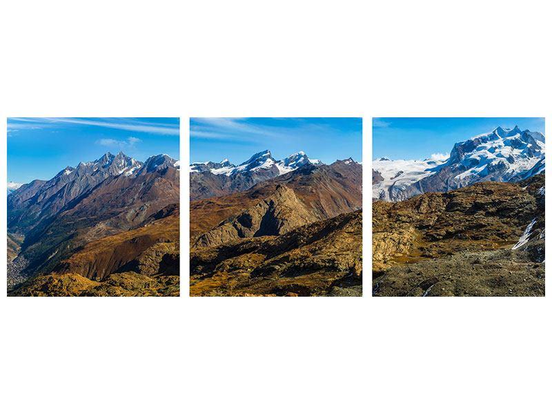 Panorama Metallic-Bild 3-teilig Schweizer Alpen im Frühling